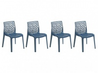 Stuhl 4er-Set Diadem - Kunststoff - Blau