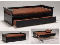 Bett mit Bettkasten Massivholz Alfonso - Ausziehbar - 90x190cm - Schwarz
