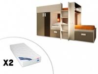 Etagenbett Julien - 2x90x190cm + Matratzen - Weiß & Braun
