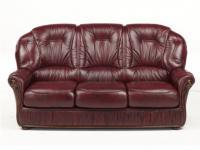 Ledersofa 3-Sitzer Debora - Rot