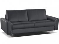 Schlafsofa Leder Express Bettfunktion mit Matratze 3-Sitzer Alphonse - Standardleder - Anthrazit