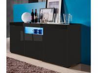 Sideboard Hochglanz LED Mercure - Schwarz