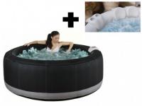 Sparset: Whirlpool aufblasbar Bcool III - Schwarz - 4 Personen + Accessoire-Set