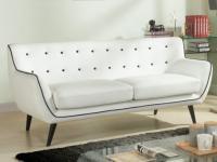3-Sitzer-Sofa Stoff SERTI - Weiß / Ziernaht Schwarz