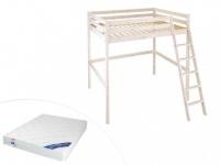Kinderbett Hochbett Holz massiv Gedeon - 140x190cm - mit Matratze - ohne Schreibtisch