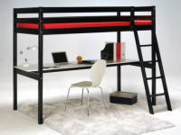 Hochbett mit Schreibtisch Prado - 90x190cm - Schwarz