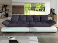 Schlafsofa Big Sofa Stoff LED-Leiste Mattias - Weiß&Grau