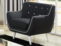 Sessel Stoff SERTI - Schwarz / Ziernaht Weiß