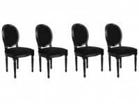 Stuhl 4er-Set Samt Louis XVI - Schwarz