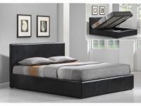 Polsterbett mit Bettkasten RITIKA - 140x200cm - Schwarz
