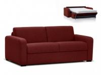 Schlafsofa Stoff Express Bettfunktion mit Matratze FLAVIEN - Rot