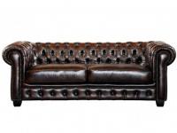 Chesterfield Ledersofa 3-Sitzer Brenton - Vintage Leder - Braun