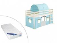 Kinderbett Halbhochbett Holz massiv Lilio mit Matratze - 90x190cm - Blau