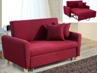 2-Sitzer Sofa Stoff mit Bettfunktion Xavier - Rot