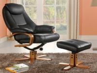 Relaxsessel Fernsehsessel + Sitzhocker Docia - Schwarz