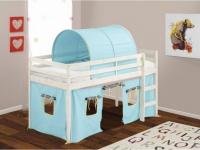 Kinderbett Halbhochbett Holz massiv Lilio - 90x190cm - Blau
