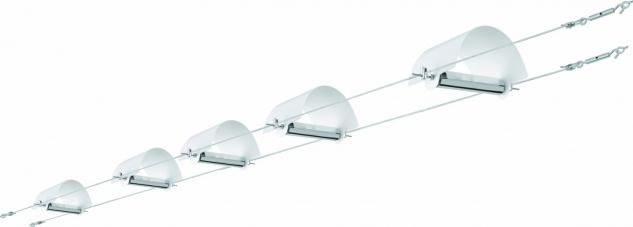 940.68 Paulmann Seil Komplett Set Wire System Arc 5x(2x10)W G4 Weiß 230/12V 105VA Metall/Glas