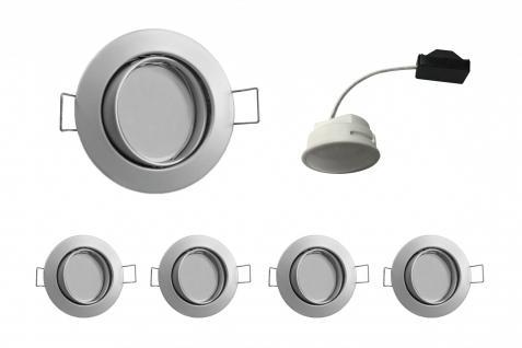 4x LED Einbauleuchte Chrom matt 5, 5W 3000K 230V Modul flache Einbautiefe 35mm