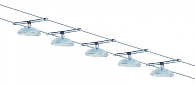 974.70 Paulmann Seil Komplett Set Wire System Bali 105 5x20W G4 Chrom/Glas dichroic 230/12V 105VA Metall/Glas