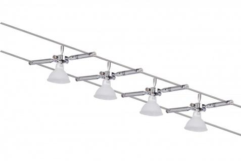 974.69 Paulmann Seil Komplett Set Wire System Togo 150 4x35W GU5, 3 Chrom 230/12V 150VA Metall