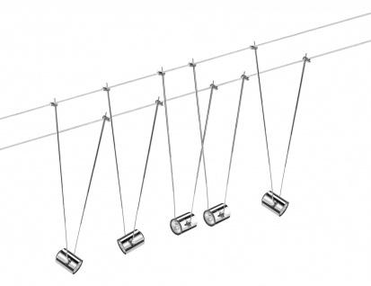 940.59 Paulmann Seil Komplett Set Wire System TeleComet II 5x20W GU4 Chrom 230/12V 105VA Metall