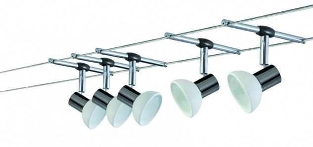 975.35 Paulmann Seil Komplett Set Wire System Sheela 105 5x20W GU5, 3 Schwarzchrom/Opal 230/12V 105VA Metall/Glas