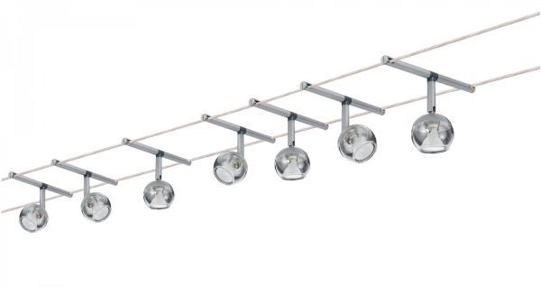 940.66 Paulmann Seil Komplett Set Wire System Globe 7x20W GU4 Chrom matt 230/12V 150VA Metall/Glas