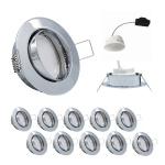 10x LED Einbauleuchten Set Chrom 5, 5W 3000K 230V Modul ultra flache Einbautiefe 35mm
