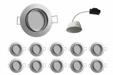 10x LED Einbauleuchte Chrom matt 5, 5W 3000K 230V Modul flache Einbautiefe 35mm