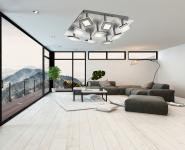 Wofi LED Deckenleuchte Lampe Leuchte Modern Wohnzimmer Design Beleuchtung Licht nickel-matt