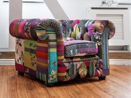 Sessel Patchwork Violett - Ohrensessel - Relaxsessel - Fernsehsessel - CHESTERFIELD