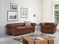 Sofa Old Style Braun - Couch - Ledersofa - Ledercouch - Lounge - Echtleder - CHESTERFIELD