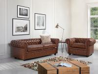 Sessel Old Style Braun - Relaxsessel - Fernsehsessel - Ledersessel - CHESTERFIELD