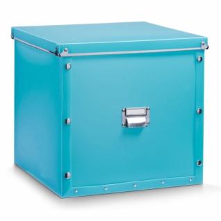 ZELLER KUNSTSTOFF AUFBEWAHRUNGSBOX mit DECKEL türkis 33, 5x33x32 BOX KISTE