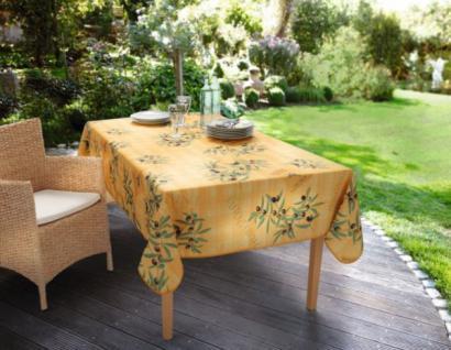 OUTDOOR-TISCHDECKE ?Olive Garden? 240 x 148 cm gelb GARTEN TISCHDEKO POLYESTER