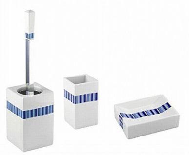 3 tlg. WENKO BAD ZUBEHÖR SET Strips weiß blau aus PORZELLAN inkl. WC GARNITUR