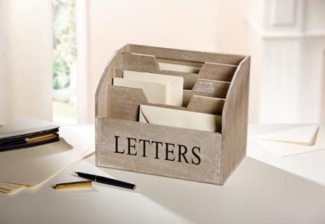 HOLZBOX ?Letters? BRIEFBOX BRIEFABLAGE POSTBOX POSTABLAGE HOLZ BRIEFSTÄNDER