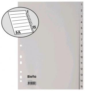 25x BIELLA KUNSTSTOFF PP REGISTER A4 15 tlg grau numeriert 1-15 NEU
