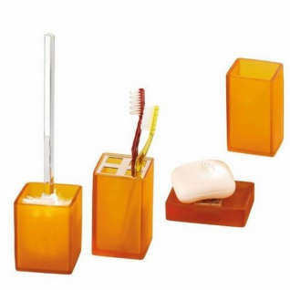 4 tlg. WENKO BAD SET Sorano orange gefrostet aus KUNSTSTEIN inkl. WC GARNITUR