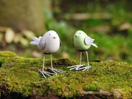 2er deko figur piepmatz vogel figur keramik garten for Deko vogel garten