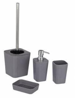 WENKO 4tlg BAD SET Natural grey ZAHNPUTZBECHER SEIFENSPENDER WC-GARNITUR NEU