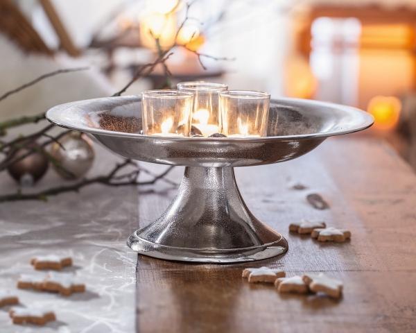 schale silber flach metall metallschale mit fuss dekoschale tischdeko kaufen bei jurvit gbr. Black Bedroom Furniture Sets. Home Design Ideas