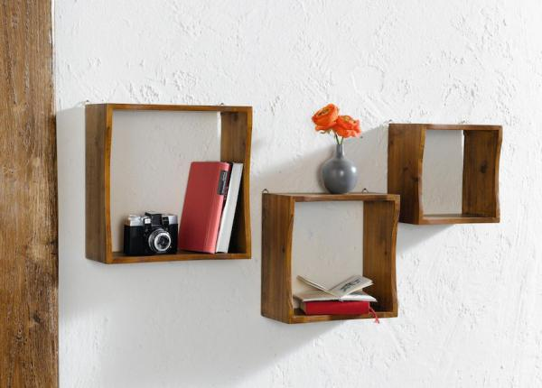 3er holz regal cube braun h ngeregal wandregal b cherregal holzregal kaufen bei come4buy gmbh. Black Bedroom Furniture Sets. Home Design Ideas
