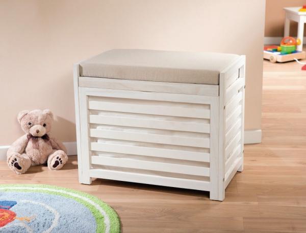 sitzbank chest truhe schlafzimmer weiß und anthrazit deckel ... - Sitzbank Truhe Chest Wei