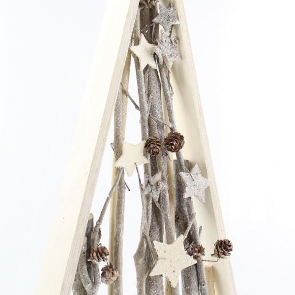 deko pyramide sternenglitzer wei holz tischdeko. Black Bedroom Furniture Sets. Home Design Ideas