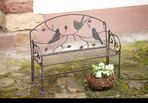 deko bank vogeltreff sitzbank metall garten parkbank blumenbank landhausstiil kaufen bei. Black Bedroom Furniture Sets. Home Design Ideas