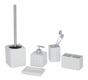 5tlg WENKO BAD SET Cube weiß aus KERAMIK SOFT TOUCH WC GARNITUR SEIFENSPENDER