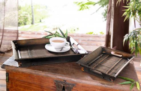 TABLETT Bambus GROSS BAMBUSTABLETT SERVIERTABLETT FRÜHSTÜCKSTABLETT MIT GRIFFEN