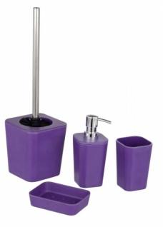 WENKO 4tlg BAD SET Natural purple ZAHNPUTZBECHER SEIFENSPENDER WC-GARNITUR