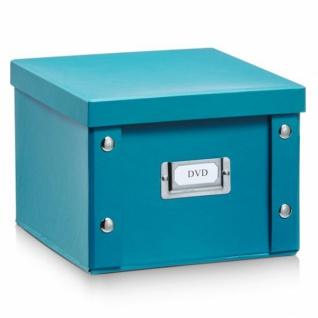 2x ZELLER DVD BOX mit DECKEL petrol für 26 DVD's AUFBEWAHRUNG KISTE KARTON CASE